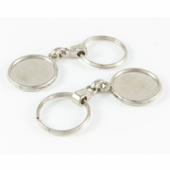 Keyring Blank Pendant 25.4mm and clear domes